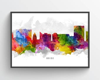 Boise Idaho Skyline Poster, Boise Cityscape, Boise Print, Boise Art, Boise Decor, Home Decor, Gift Idea, USIDBO13P