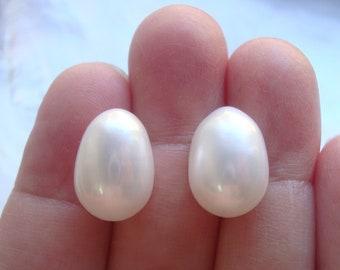one pair, 13x9mm, Fresh Water Pearl, Freshwater Pearl Teardrop Briolette, half drilled, top drilled, earring pair,PR