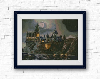 BOGO FREE! Hogwarts School Cross Stitch Pattern, TV Show Harry Potter Cross Stitch Craft, Embroidery Needlework Instant pdf Download #016-10