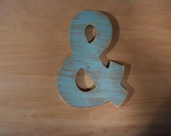 "8"" x 6 wooden Ampersand / & Block font"