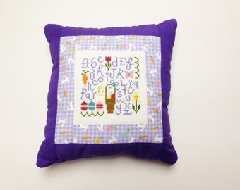 Spring Decor, Easter Decor, Spring Pillow, Finished Cross Stitch, Spring Cross Stitch, Lizzie Kate Easter