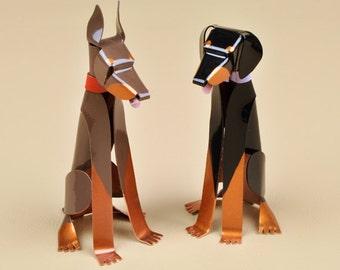 """Doberman Pinscher Dog Sculpture 3.75"""" tall Handmade Copper Miniature Collectible Dog Art, Doberman Art, Doberman Figurine"""