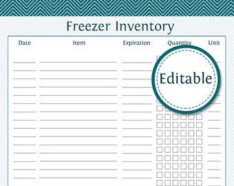 Freezer Inventory List - Fillable - Printable PDF - Instant Download