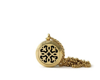 Petite Gold Diffuser Necklace-Stainless Steel-Diffuser Necklace-Free Shipping