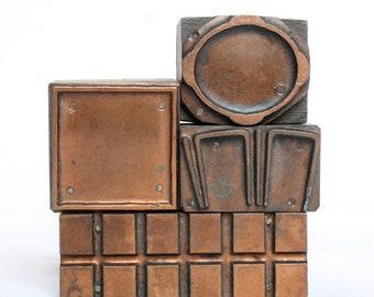 MINIMALIST 1903-1953 Antique GERMAN Copper Letterpress Cut printing block Shapes Frames Square Oval