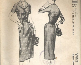ON SALE 1950's Sewing Pattern - McCall's 9463 Wiggle dress with hip pockets Size 10 to 12 cut, complete
