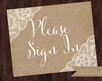 Please Sign In Burlap Wedding Sign, Wedding Sign, Rustic Wedding, Wedding Sign, Sign In Printable, Sign In Guest Table Sign