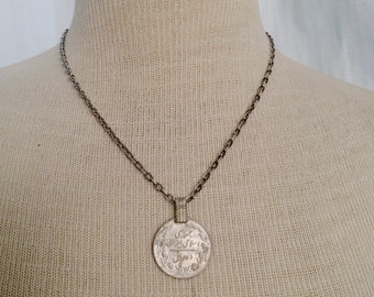 18 Inch Chain Necklace with Vintage Coin Pendant