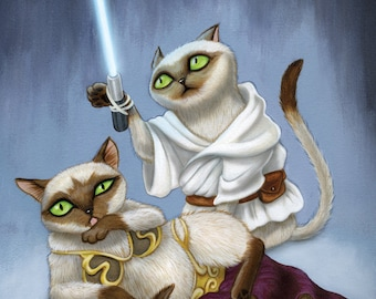 Star Wars Cats - 8x10 art print - Siamese Luke and slave girl bikini Leia kitty with lightsaber on a blue background