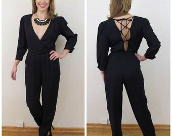 80s Jody California Black Deep Plunge Backless Lace Up Jumpsuit, Size XS