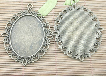 4pcs antiqued bronze flower oval cameo cabochon settings EF1241