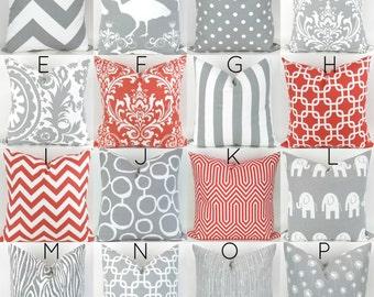 Coral & Gray Pillow Cover - 18x18 - Mix/Match pink grey white throw cushion euro sham bold decorative custom nursery Premier Prints