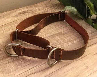 Leather Martingale Dog Collar ; Double D Ring, Genuine & personalizable by Emeny