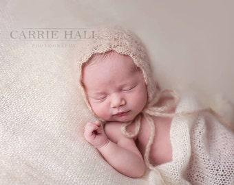 Mohair Silk Crochet/Knitt Beige  Bonnet - Ready to Ship Photography Prop.Schell bonnet.Organic look bonnet.