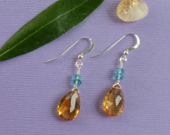 AAA+ Citrine and Apatite earrings.  These extra large citrine briolette earrings will let your light shine.