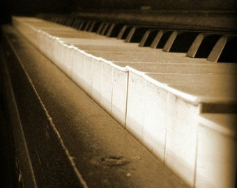 Sepia piano keys, piano, antique piano, music photography, musical instrument, abstract photography, wall art, romantic, sepia photo print