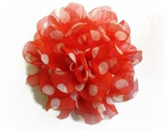 Orange Polka Dot Flower. Orange Chiffon Flower. 1 Pc.