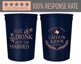 Customized Stadium Cups 16oz, Eat Drink and Be Married Wedding Stadium Cup, Wedding Stadium Cups, Party Stadium Cup, Custom Cups (11)