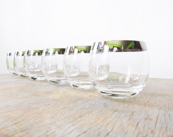 mad men glasses, silver dorothy thorpe roly poly glasses, vintage 1960s barware