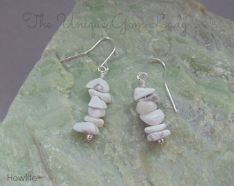Howlite Chip Bead Beaded Dangly Earrings ~ Gemstone Crystal Healing ~ Handmade