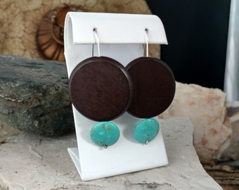 Turquoise earring,Meja Design,geometric jewelry,everyday,wood,light weight,one of a kind,contemporary,unique,modern earring,sterling silver