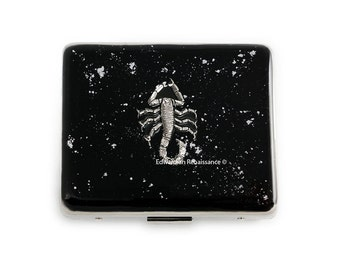 7 Day Pill Box Scorpion Inlaid in Hand Painted Black Enamel with Silver Splash Design Penny Dreadful Inspired Personalized and Color Options