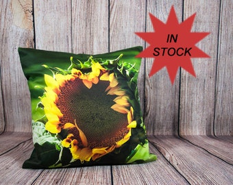 Sunflower Pillow Cover, Flower Home Decor Pillow Cases Handmade In Canada, Yellow Bedroom Decoration, Farmhouse Decor, Floral Photography