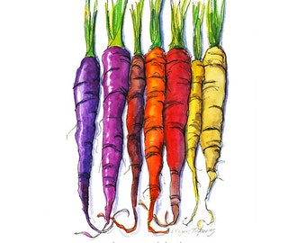 Rainbow Carrots 8x10 kitchen art print