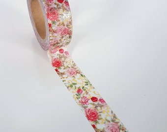 Gold Foil Floral Flowers Roses Washi Tape - Full Roll