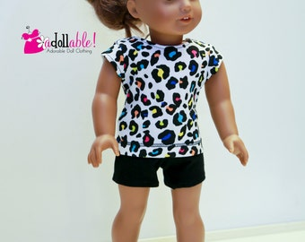 18 inch doll clothes made to fit like american girl doll clothes, special sale leopard print top and black shorts
