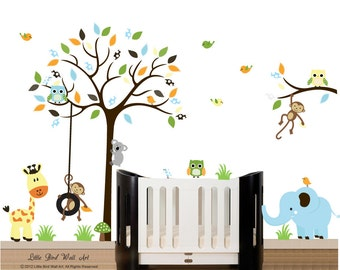 Wall decal tree baby wall decal owl tree branch wall decal sticker - 107