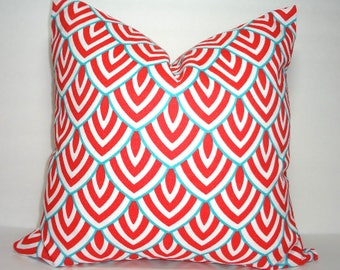 Outdoor Bittersweet Coral Aqua White Calypso Geometric Porch Pillow Cover Throw Pillow Cover Size 18x18