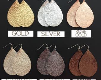 Leather teardrop Earrings - Genuine Leather - Metallic Leather - Teardrop Earrings - Joanna Gaines Inspired - You Choose Color