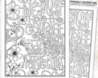 Printable Instant Download Coloring Page, Hand Lettered Quote, Adult Colouring Book Page, Weight loss Motivation, Success, DIY Print