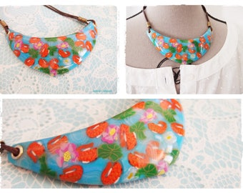 Necklace with fish and water lily made entirely of polymer clay. Goldfish necklace / water lily