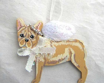 Hand-Painted FRENCH BULLDOG FAWN Feathered Wing Angel Wood Ornament...Artist Original