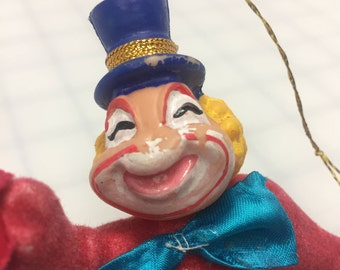 Vintage flocked clown ornament