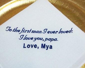 Custom Embroidered Father of the Bride Handkerchief - FREE Gift Box - Personalized Wedding Handkerchief Keepsake - Thread Born Memories