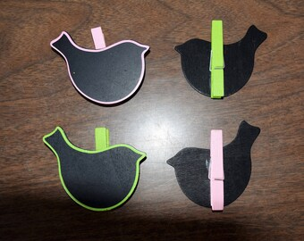 Set of 4 bird chalkboard clothespins