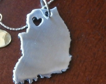 Love South Korea custom heart silver necklace State Necklace custom map jewelry