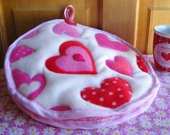 Valentine Hearts A Plenty Tortilla Cozy, Red Pink Hearts Fleece Tortilla Cozy, Hearts Fleece Tortilla Cozy