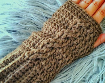 CROCHET PATTERN ONLY! Cable Fingerless Gloves