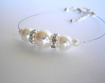 Bridesmaid Bracelet , Bridesmaids Gift, White or Ivory Glass Pearl Bracelet, Bridal Jewelry