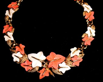 Boucher Peach and White Resin Leaf Choker Necklace