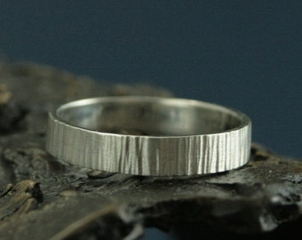 Silver Bark Ring - Bark Band - Rustic Wedding Band - Tree Bark Ring - Woodland Wedding Band - Nature Band - Natural Wedding Ring