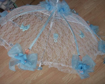 """32"""" White Lace baby shower umbrella Blue booties & pacifiers"""