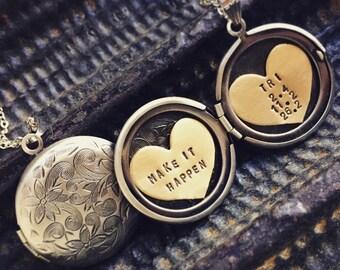 Triathlon necklace, Personalized jewelry, Make it Happen, Hand engraved Locket necklace, Run, Bike, Swim Jewelry, Running, 70.3, Iron Woman