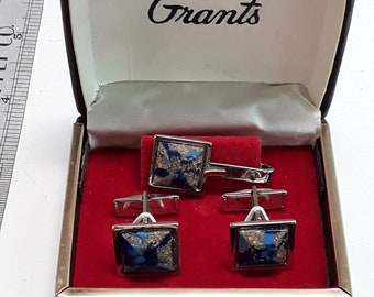 Silver toned cuff links and tie clip set in box used