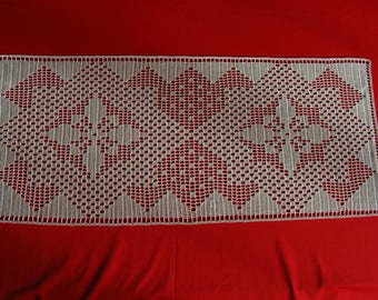 72 Ecru hand crocheted table runner