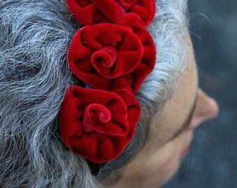 Fascinator Headband - Red Velvet - Hand Dyed Silk Velvet Roses